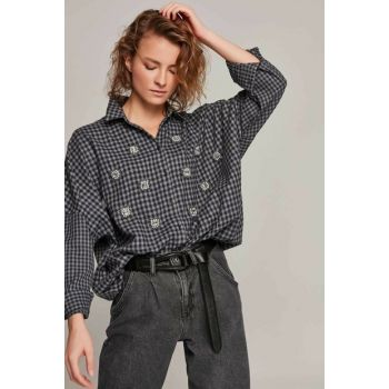 Women Navy Blue Stone Embroidered Gingham Patterned Bat Sleeve Shirt 30654 Y19W109-30654