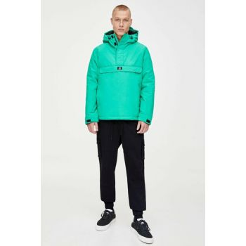 Men's Light Green Patched Kangaroo Coat 09714926