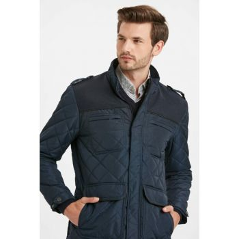 Men's Navy Blue Patterned Quilted Coat 8W5268Z8