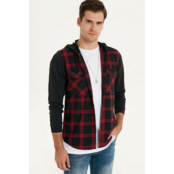 Men's Red Plaid Shirt 9W6177Z8