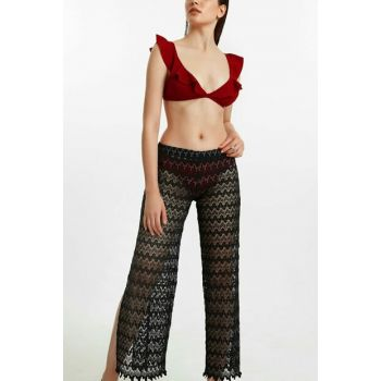 Women's Black Lacy Pants Pareo SBA19130
