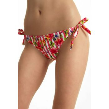 Women's Pink Striped Thick Lace-up Bikini Bottom SB19510
