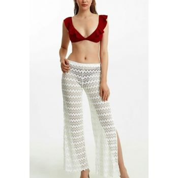 Women's White Lacy Pants Pareo SBA19130