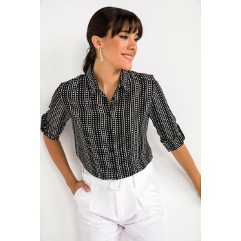 Women's Black Small Geometric Pattern Three-quarter Sleeve Crepe Shirt Black S-20K1010041