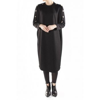 Owersize Sweater Dress with Handles Button Detail 20891s MDAGLY20891S