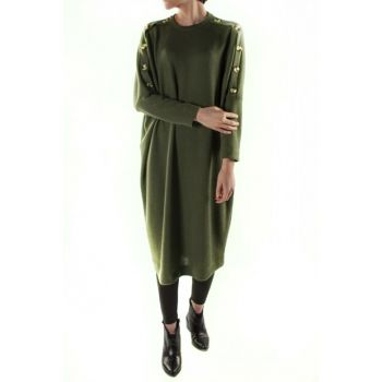 Owersize Sweater Dress with Handles Button Detail 20891h MDAGLY20891H