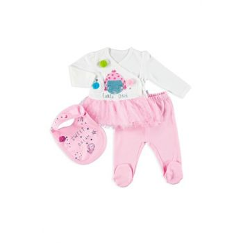 Infant Pompom Interlock Bottom Bib Apron 3 Pcs Set 19KMIOKSET001