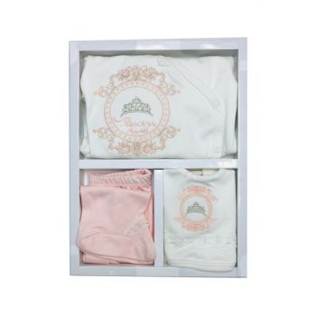 POWDER POWDER GIRL BABY 0-3 MONTH PRINCESS 5 PIECES SET 14278 100% cotton