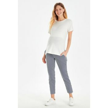 Women Navy Striped Lgs Maternity Clothing Pants 9SV382Z8