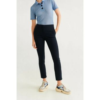 Women's Navy Blue Straight Cut Long Pants 67080514