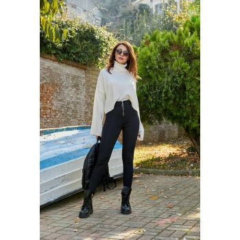 Zippered Tights Trousers - BLACK 20KPA768K111