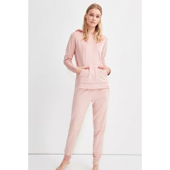 Powder Hooded Eyelash Pajama Set THMAW20PT0264