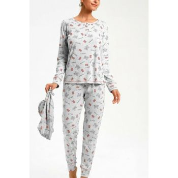 Women's Gray Printed Bella Pajama Set SH20450660964
