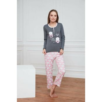 Women's Smoked Cotton Interlock Pajama Set A1383