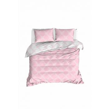 100% Natural Cotton Double Duvet Cover Set Nadine Pink Ep-020259