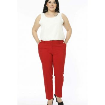 Women's Red Wrist Length Pocket Trousers PT2136 / 1