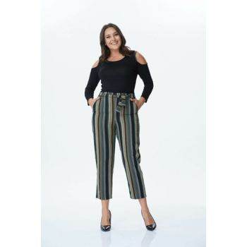 Women's Belt Striped Trousers 34176