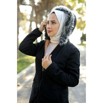 1691 Hooded Fur Coat - Black 03019KBKBN01001