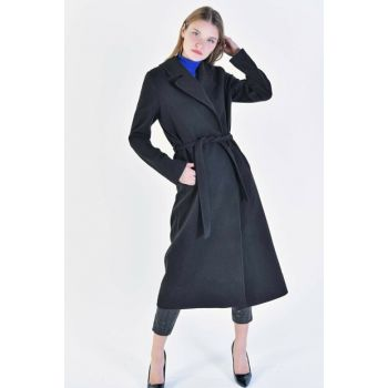 Women's Black Shawl Collar Coat K11807 ADX-0000020524