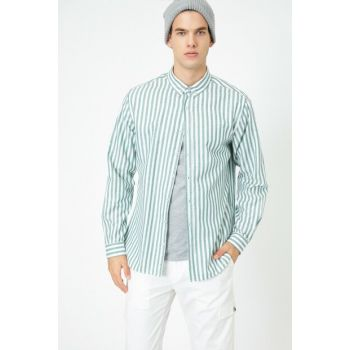 Men's Green Striped Shirt 0YAM64056OW