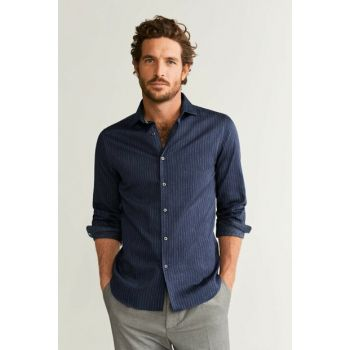 Men's Navy Blue Slim-fit Inside Patterned Shirt 51025725