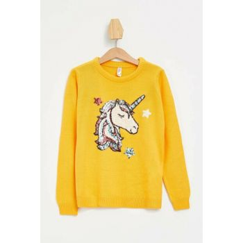 Yellow Girls Sequin Printed Sweater Pullover K9519A6.19AU.YL76