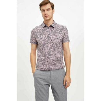 Men's Purple Printed Polo T-Shirt L6890AZ.19AU.PR331