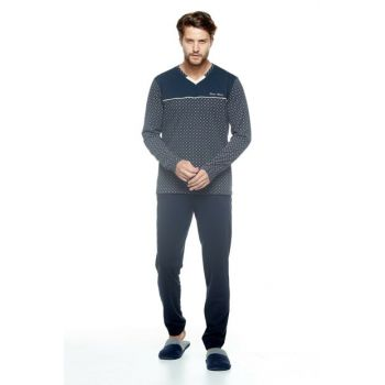 Men's Navy Blue Pajama Set 10038