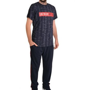 Men's Navy Blue Short Sleeve Pocket Pajama Set 93147