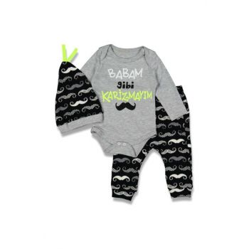 Gray Baby Boy Like My Father Charisma Written 3-Piece Tee Set 16906