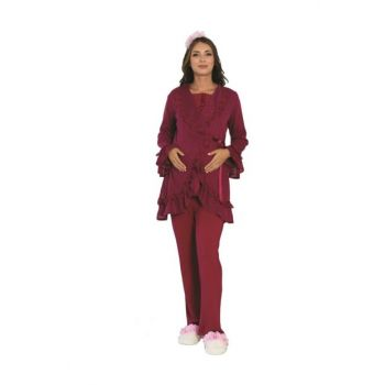 Lohusa Pajama Set with Sweater Dressing Gown 5103Q26112019