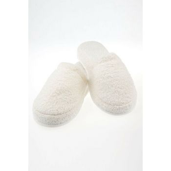 Lohusa Slipper Blank Ornate Non-Slip Sole Flexible Towel Fabric Cream ARM-AR4245
