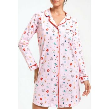 Women's Pink Printed Coffee Time Short Nightdress SH20470613334