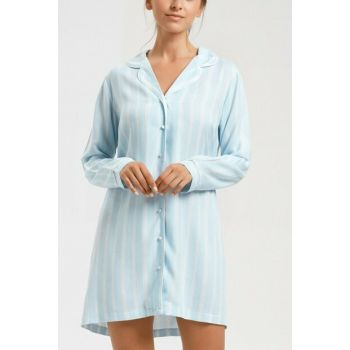 Women's Blue Printed Lover Short Nightdress SH20320613956