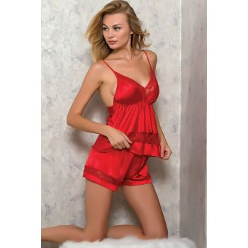 Women's Red Satin Ruched Short Singlet Shorts Nightwear Suit 9041 MLB9041