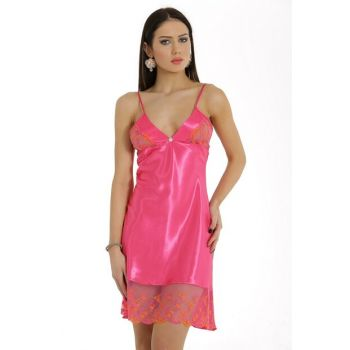 Women Fuchsia Satin Nightgown MSD-476