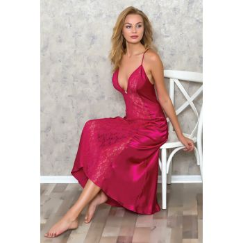 Women Fuchsia Satin Slim Strap Lace Detailed Long Nightgown 9514 MLB9514