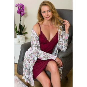 Women's Burgundy Cotton Nightgown Dressing Gown 2-Piece Set Lingabooms 1528 MBY1528