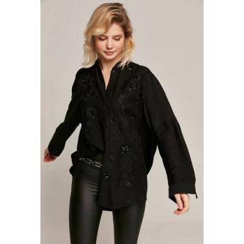 Women's Black Floral Embroidered Sequin Bat Sleeve Shirt 30600 Y19W109-30600