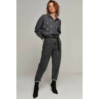 Women's Anthracite High Waist Pockets Mom Jeans Y19W125-5005