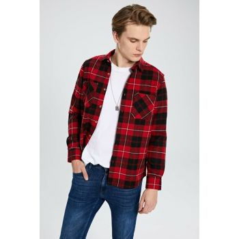 Men's Red Plaid Shirt 9WA300Z8