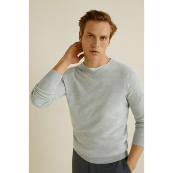 Men's Light Flecked Gray Cashmere-Cotton Blend Sweater 53060495