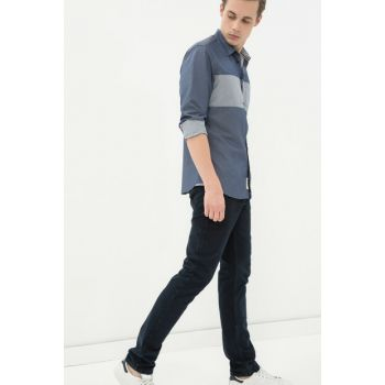 Men's Blue Casual Cut Trousers 7KAM49723VW