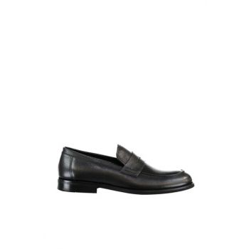 Genuine Leather Black Men Loafer Shoes 02AYH138580A100