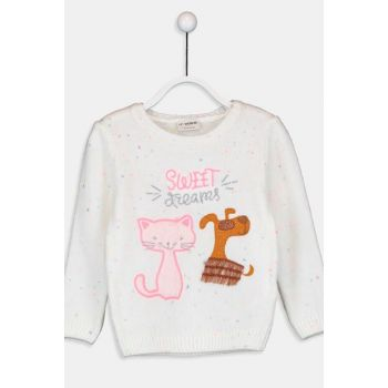 Girl's Ecru Nope Sweater 9W7978Z4