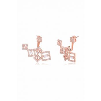 Small Checkered Silver Earrings COS-CZ-EAR1064