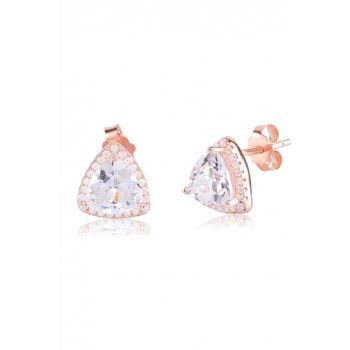 Solitaire TRIANGLE Silver Earrings COS-CZE0902