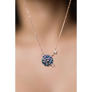 Women's Colorful Cubic Zirconia Planet Necklace Rose Gold Plated 925 Sterling Silver Necklace PP2202