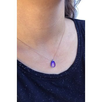 Women's Color Changing His Stone Silver Necklace SK1379