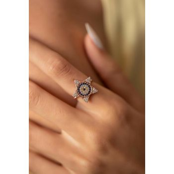 Women's Star and Evil Eye Model Rose Plated Silver Ring PKT-İZLASLVR00716